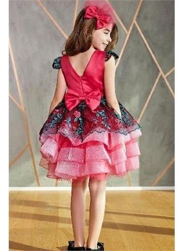 Riccotarz Kız Çocuk Çiçekli Çapraz Fuşya Abiye Renkli